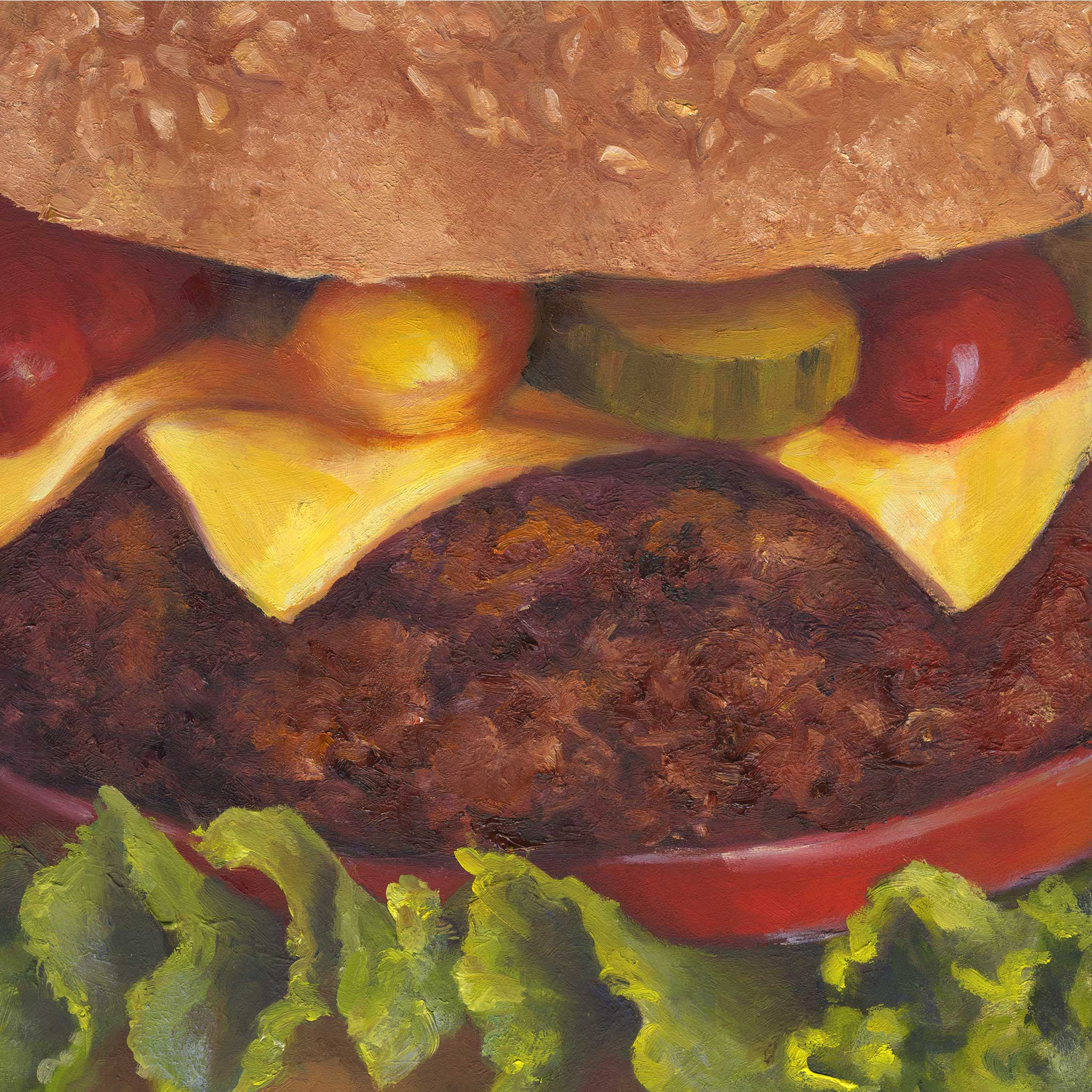 Smiley : Burger Art Print - Galleria Fresco - food still life by Jo Bradney