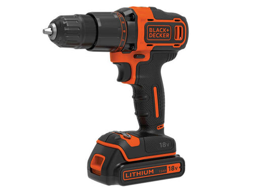 Black and Decker BCD700S1K 2 Gear Hammer Drill 18V with 1.5Ah Li-ion Battery