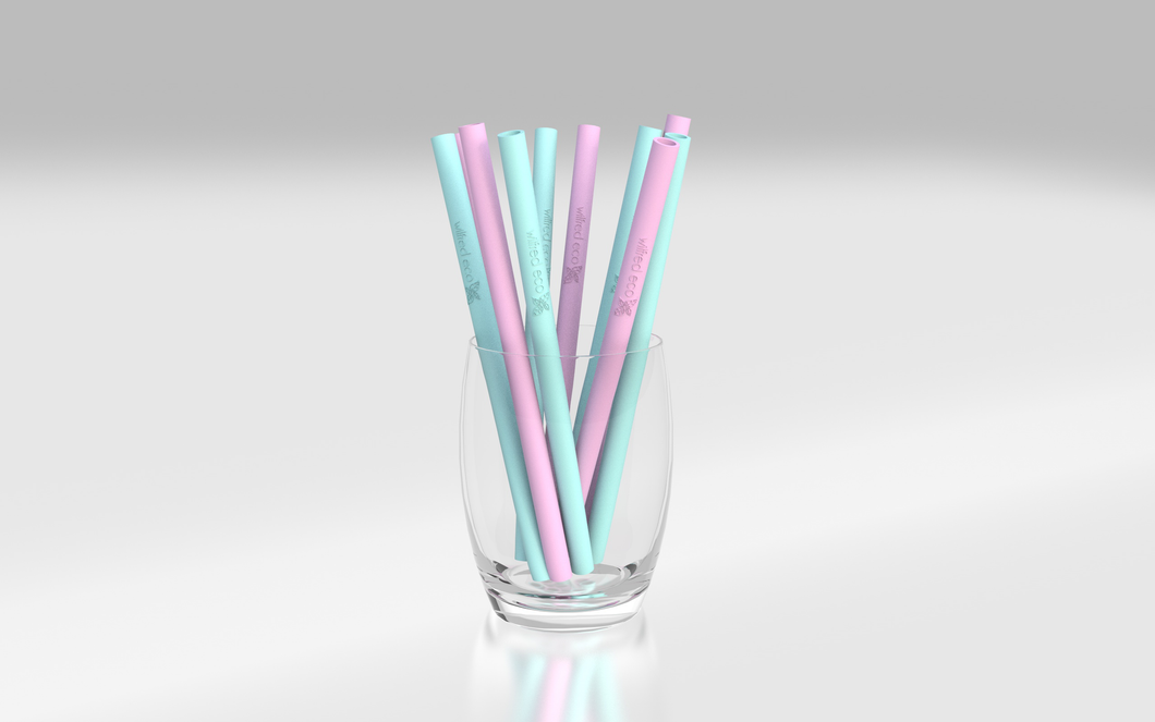 Short reusable silicone straws Australia pink and mint- Wilfred Eco