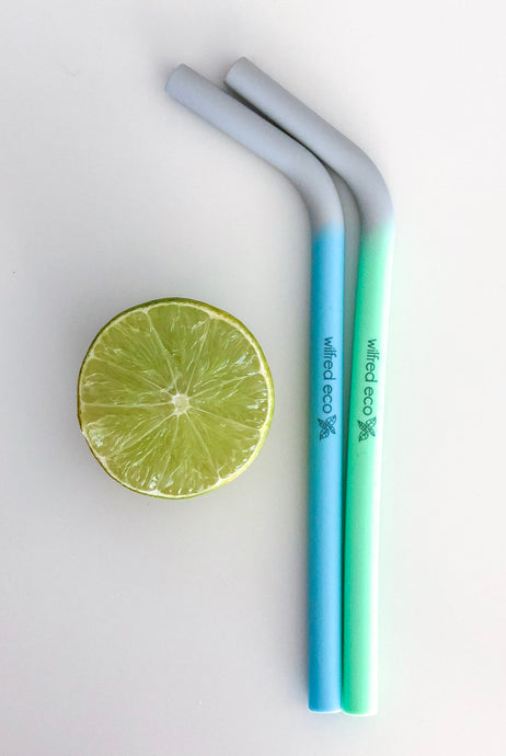 Green and Blue Silicone Straws - Wilfred Eco