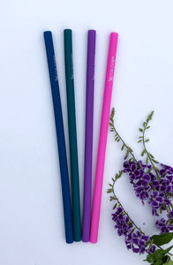 Straight Silicone Reusable Straws - 4 Pack - MIDNIGHT CONFETTI
