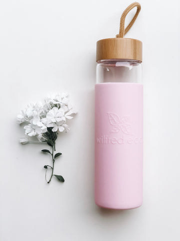 Glass Water Bottle - Pink with Bamboo lid