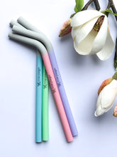 Load image into Gallery viewer, Silicone Smoothie Straws - 4 Pack Reusable - RAINBOW PASTELS