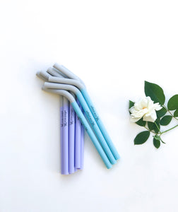 Reusable Silicone Drinking Smoothie Straws - Purple and Blue- Wilfred Eco
