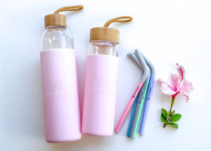 Reusable Silicone Smoothie Straws Australia - 1L Glass drinking water bottle - Wilfred Eco