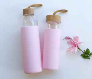 1L Reusable Glass Drinking Water Bottle - Pink - Wilfred Eco