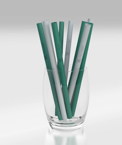 Silicone Cocktail Straw - Green and Grey - Wilfred Eco