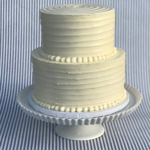 Two Tier Butter Cream Band Cake