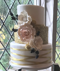 3 Tier Wedding Cake with gold and Flowers