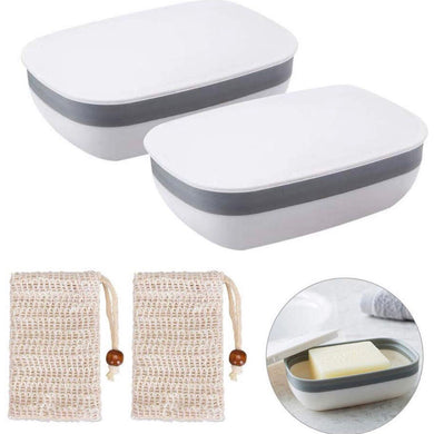 Soap Case, 1-Pack Soap Dish with 1-Pack  Soap Bag Portable