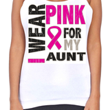 Juniors Dri Fit I Wear Pink For My Aunt Breast Cancer Support T-Back Tank Top