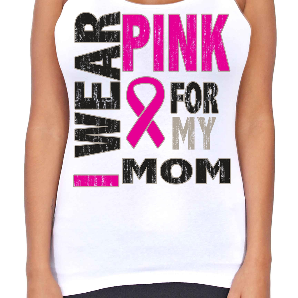 Juniors Dri Fit I Wear Pink For My Mom Breast Cancer Support T-Back Tank Top
