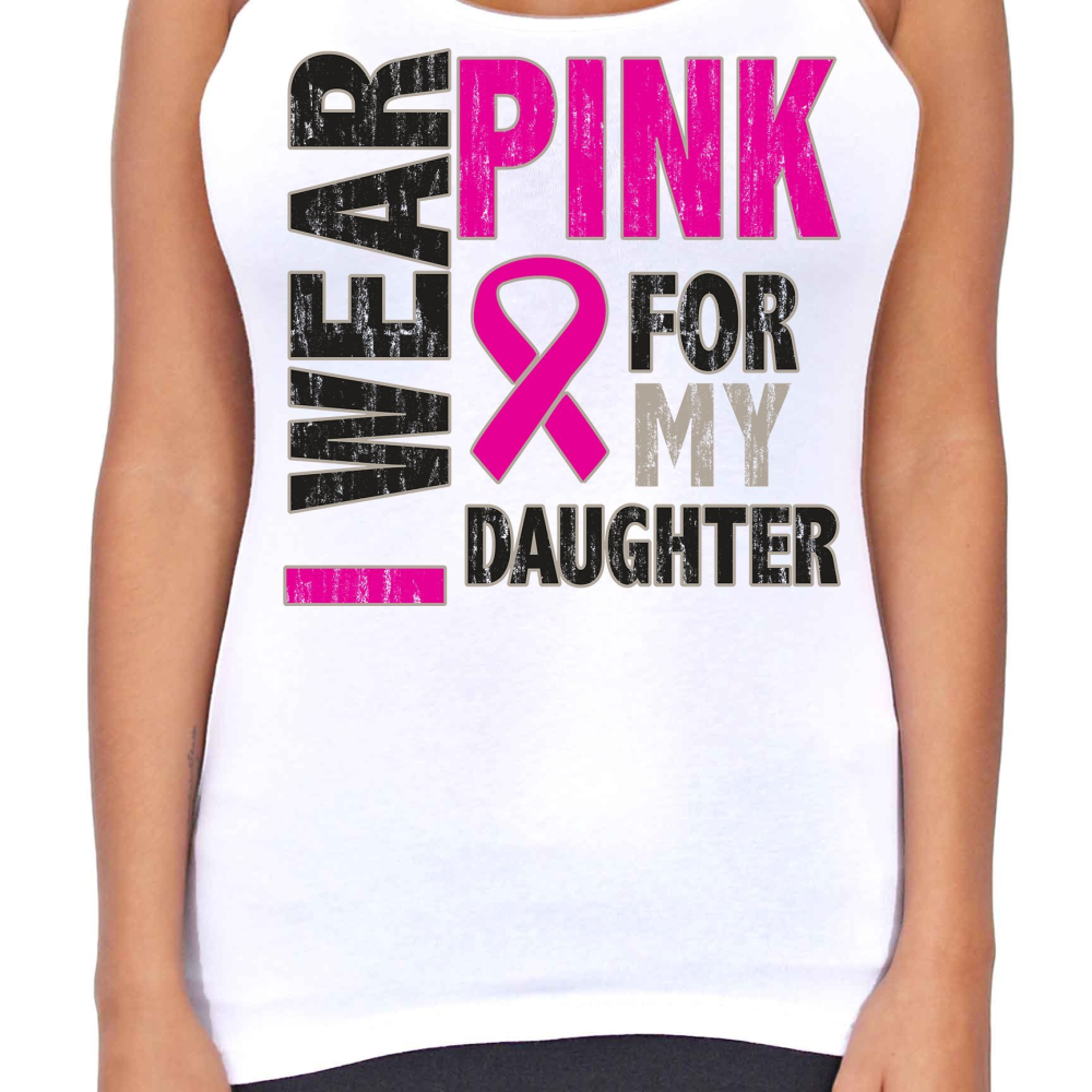 Juniors Dri Fit I Wear Pink For My Daughter Breast Cancer Support T-Back Tank Top