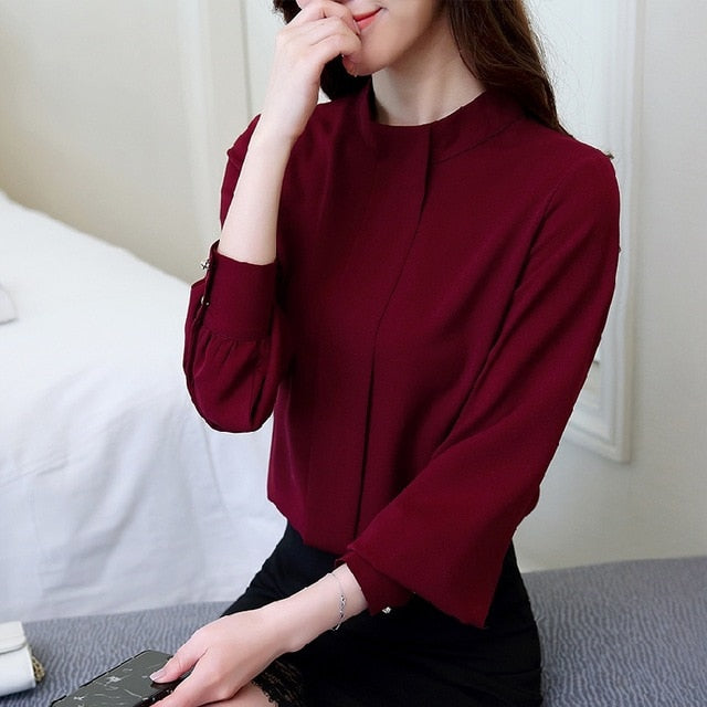 Wine Long Sleeve Office Blouse