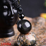 Rainbow Eye Obsidian Golden Good Luch Pendant
