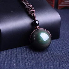Load image into Gallery viewer, Black Obsidian Rainbow Eye Ball Necklace