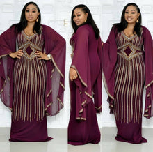 Load image into Gallery viewer, Purple Long  African Style Plus Size Dress