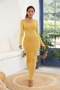 Simple Casual Stretchy Long Sleeve O-neck Dress