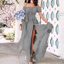 Load image into Gallery viewer, Celmia Bohemian Ruffle Long Maxi Sundress
