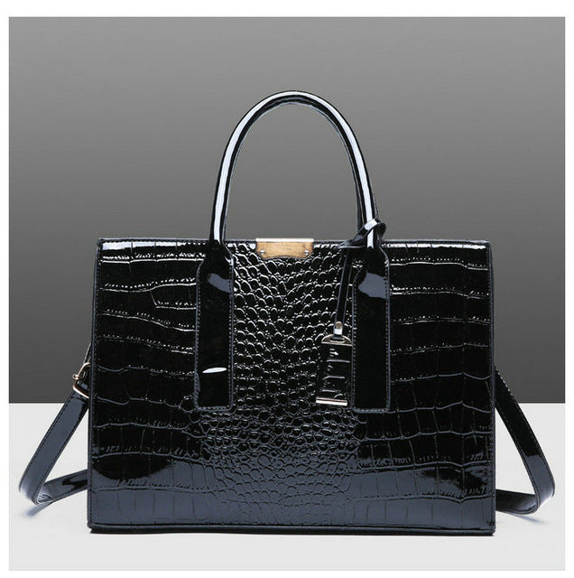 Luxury Black Alligator Composite Handbag