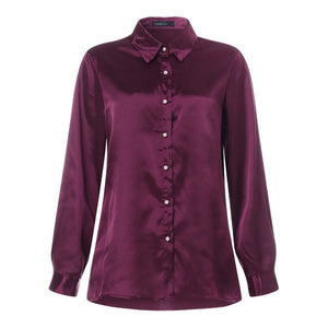 Women's Long Sleeve Satin Button Down Shirt