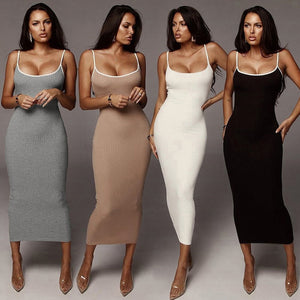 Pure Knitting Spaghetti Strap High Waist Dress