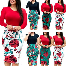 Load image into Gallery viewer, Plus Size Voluptuous Sexy Knee Length Floral Patchwork Dress