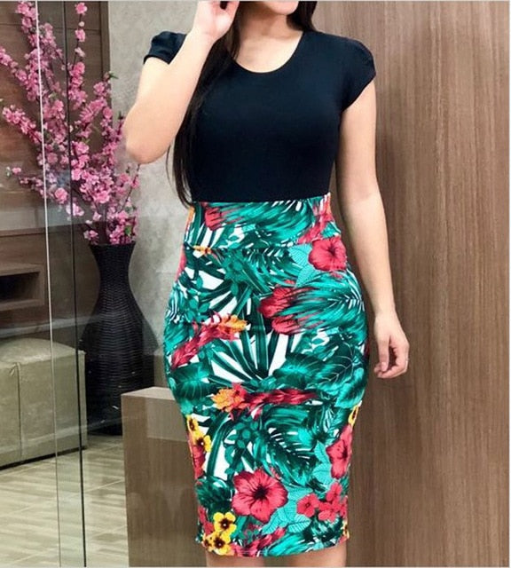 Plus Size Voluptuous Sexy Knee Length Floral Patchwork Dress