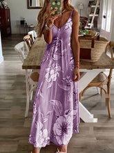 Load image into Gallery viewer, Vintage Leaf Print Dress Sexy Spaghetti Strap V Neck Long Dress
