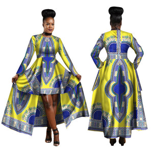 African Blue and Red Long Traditional above the Knee Dress