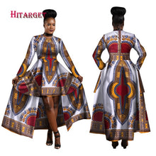 Load image into Gallery viewer, African Blue and Red Long Traditional above the Knee Dress