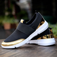 Load image into Gallery viewer, Black and Gold Lightweight Casual Sneakers