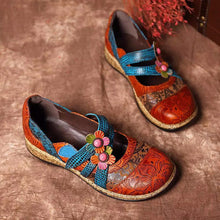 Load image into Gallery viewer, Vintage Floral Genuine Leather Splicing Colored Stitching Flats