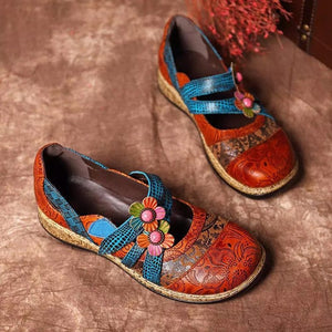 Vintage Floral Genuine Leather Splicing Colored Stitching Flats
