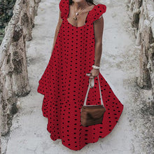Load image into Gallery viewer, Long Polka Dot Sleeveless Dress with Ruffles