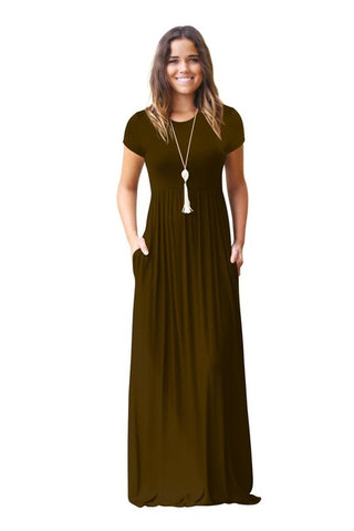 Casual Green Tank O-neck Solid Dress