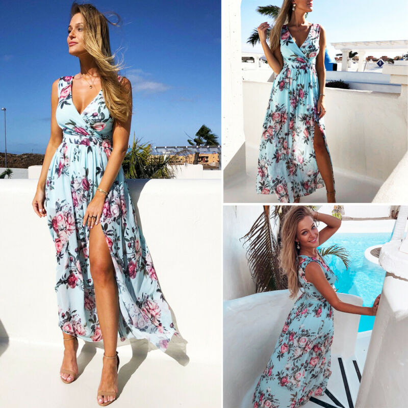 Blue Long Summer Dress with Flowers