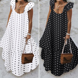 Long Polka Dot Sleeveless Dress with Ruffles