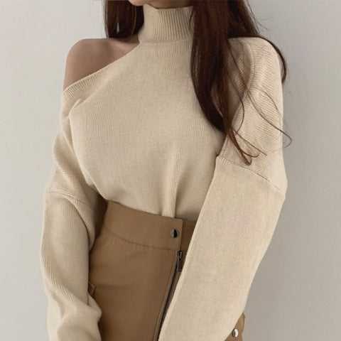 Fashion One-shoulder Women Knitted Pullovers Turtleneck