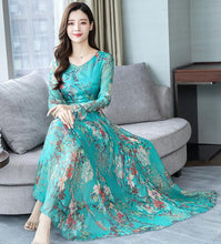 Load image into Gallery viewer, High Fashion Floral Chiffon Long Dress