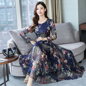High Fashion Floral Chiffon Long Dress