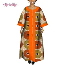 Load image into Gallery viewer, Orange and Green Traditional African Long Dress