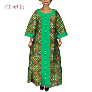 Orange and Green Traditional African Long Dress