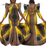 Plus Size African Backless Long Dress