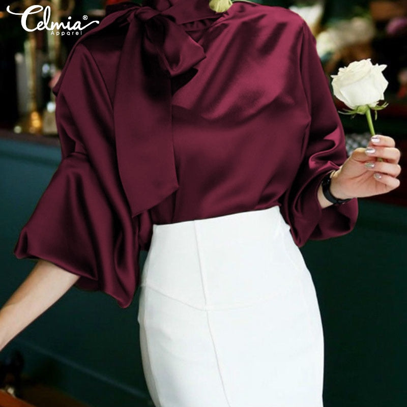 Satin High Collar Blouse