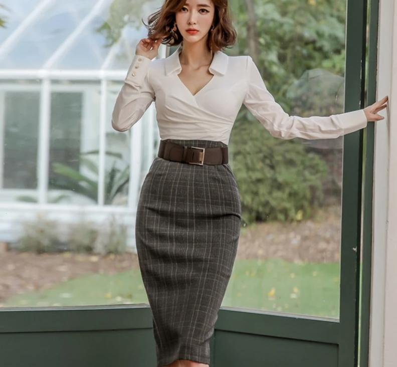 High Waist Plaid Long Sleeve Dress
