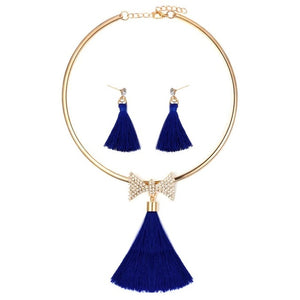 Women's Tassel Jewelry with Pearl Choker Holiday Collection