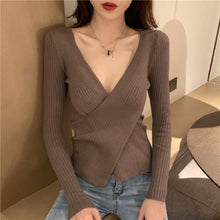Load image into Gallery viewer, Sexy V-neck Cross Sweaters