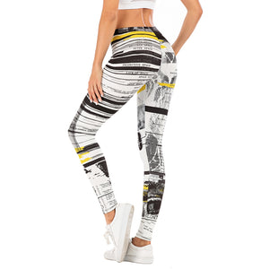 Soft and Stretchy Black, Yellow  and White Print Leggings