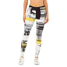 Load image into Gallery viewer, Soft and Stretchy Black, Yellow  and White Print Leggings